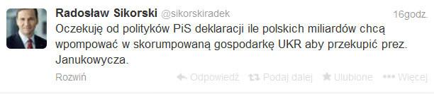 Wpis Radosława Sikorskiego na Twitterze. /Twitter