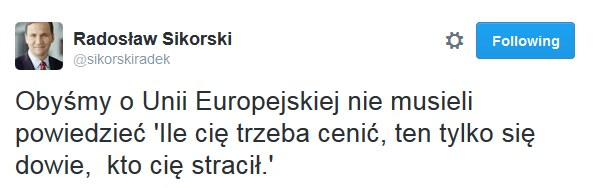 Wpis Radosława Sikorskiego /Twitter