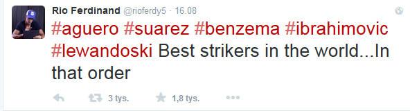 Wpis Rio Ferdinanda na Twitterze /INTERIA.PL