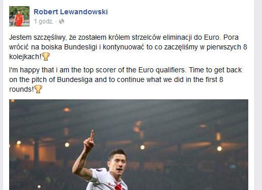 Wpis Roberta Lewandowskiego na Facebooku /INTERIA.PL