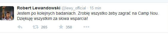 Wpis Roberta Lewandowskiego na Twitterze /INTERIA.PL
