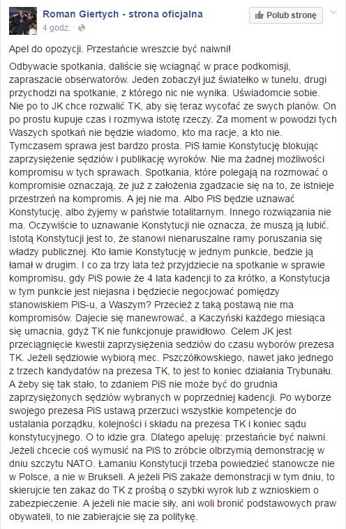 Wpis Romana Giertycha na Facebooku /facebook.com