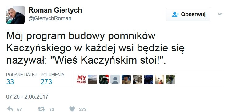 Wpis Romana Giertycha /Twitter