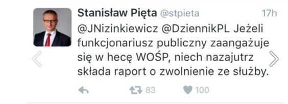 Wpis Stanisława Pięty na Twitterze /Twitter