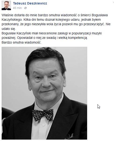 Wpis Tadeusza Deszkiewicza na Facebooku /Facebook /