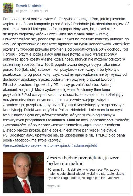 Wpis Tomasza Lipińskiego na Facebooku /Facebook /&nbsp