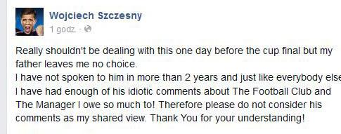 Wpis Wojciecha Szczęsnego na Facebooku /INTERIA.PL