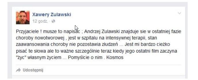 Wpis Xawerego Żuławskiego /Facebook