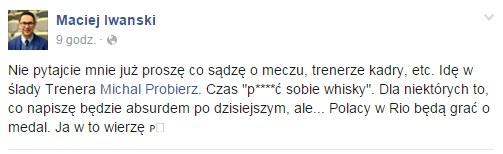 Wpis z Facebooka Macieja Iwańskiego /INTERIA.PL