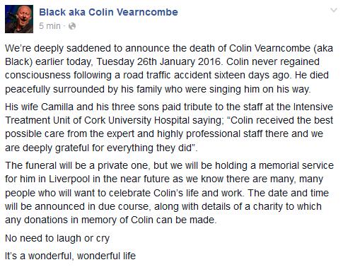 Wpis z facebookowego profilu Blacka informujący o śmierci wokalisty /Facebook /
