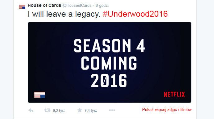 """Wpis z Twittera """"House of Cards"""" informujący o kolejnym sezonie. /Twitter /internet"""