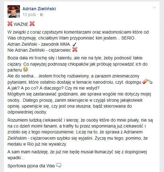 Wpis zawodnika MMA Adriana Zielińskiego na Facebooku /