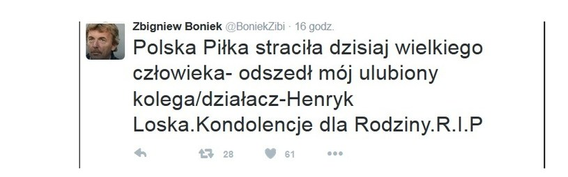 Wpis Zbigniewa Bońka na temat śmierci Henryka Loski /Twitter