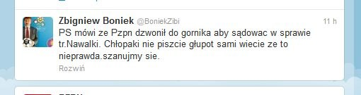 Wpis Zbigniewa Bońka na Twitterze /Internet
