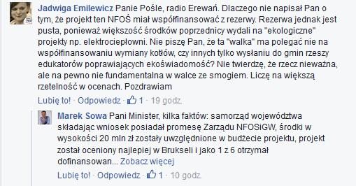 Wpisy Jadwigi Emilewicz i Marka Sowy /Facebook /