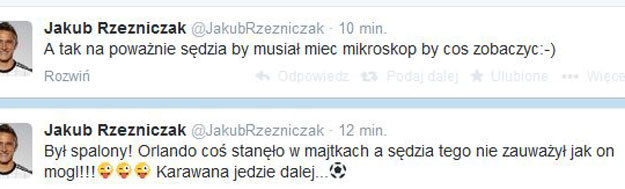 Wpisy na Twitterze Jakuba Rzeźniczaka /INTERIA.PL