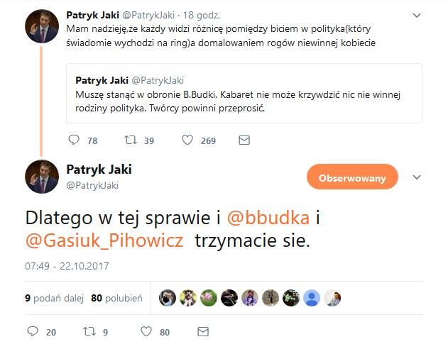 Wpisy Patryka Jakiego /Twitter