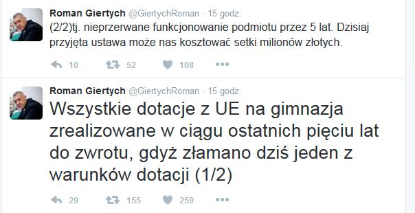 Wpisy Romana Giertycha /Twitter