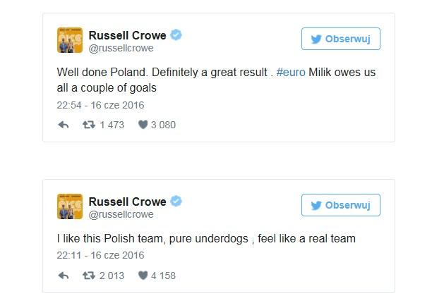 Wpisy Russella Crowe'a po meczy Polska-Niemcy /Twitter