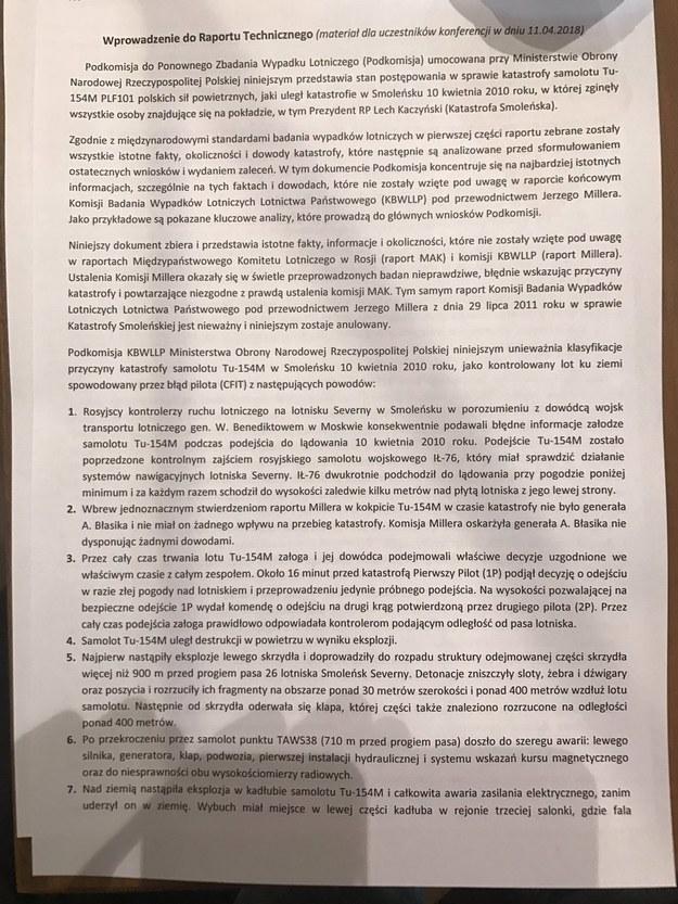 Wprowadzenie do raportu technicznego podkomisji smoleńskiej /RMF FM