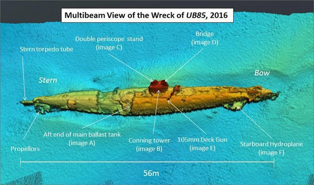 Wrak łodzi podwodnej /EPA/SCOTTISH POWER /PAP/EPA