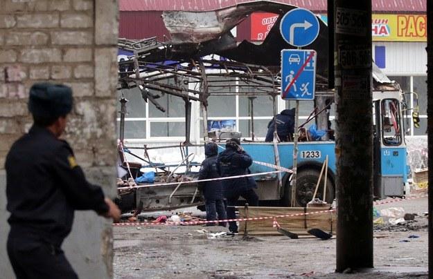 Wrak trolejbusu, w którym doszło do eksplozji /MAXIM SHIPENKOV    /PAP/EPA