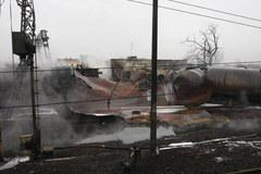 Wraki wagonów po pożarze w Białymstoku