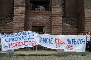 Wrocław: Przed komendą policji manifestowano w sprawie śmierci 25-letniego obywatela Ukrainy