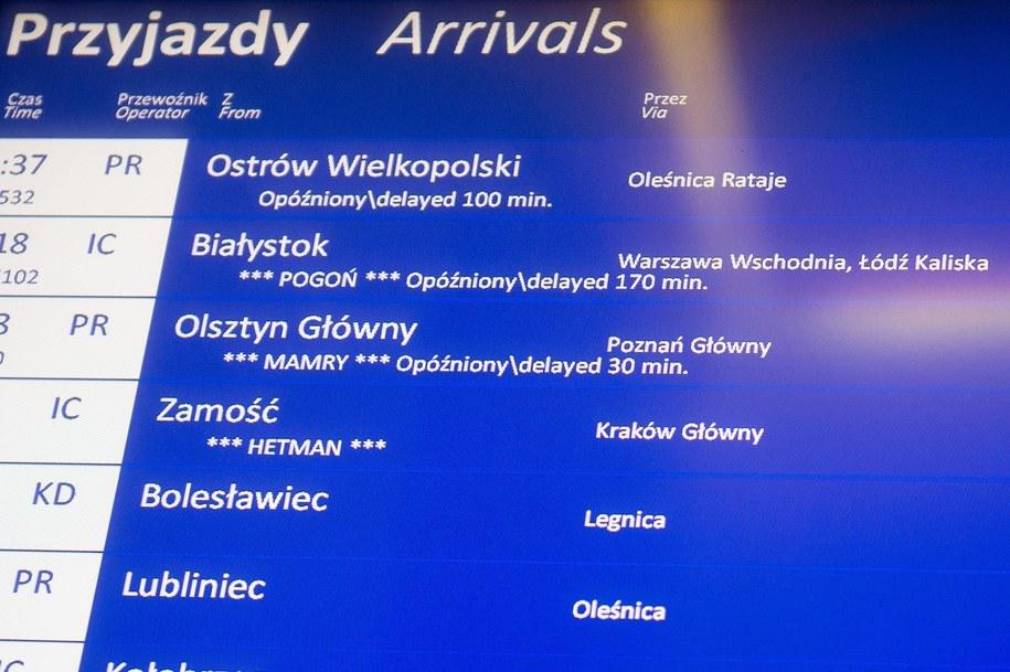 Wrocławski dworzec kolejowy - tablice informujące o opóźnieniach /Maciej Kulczyński /PAP
