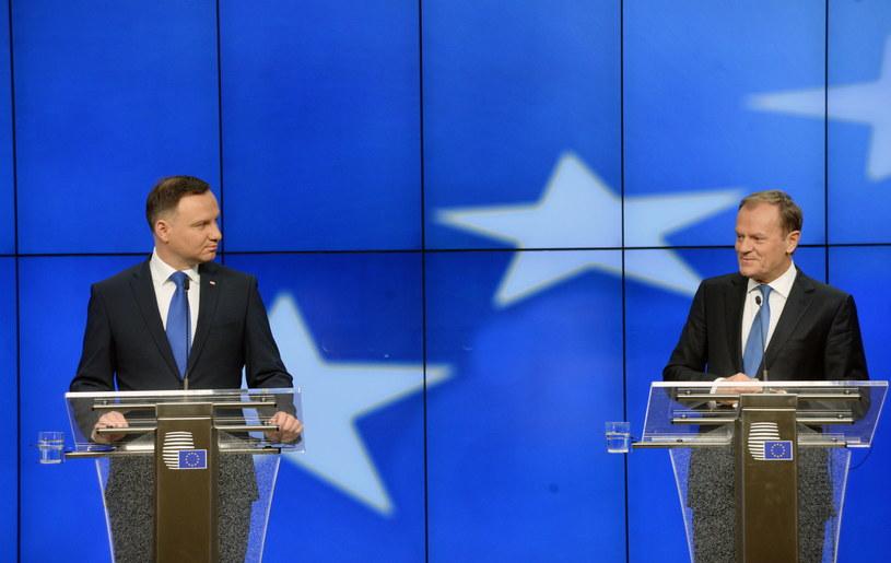 Wspólna konferencja prasowa Andrzeja Dudy i Donalda Tuska /Jacek Turczyk /PAP
