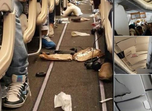 Wstrząsy były tak silne, że z luku nad głowami pasażerów powypadały bagaże /Twitter