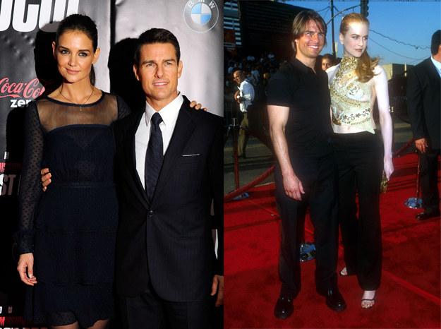 Wszystkie małżeństwa Toma skończyły się rozwodem. Na zdjęciu od lewej z Katie Holmes i z Nicole Kidman /Getty Images
