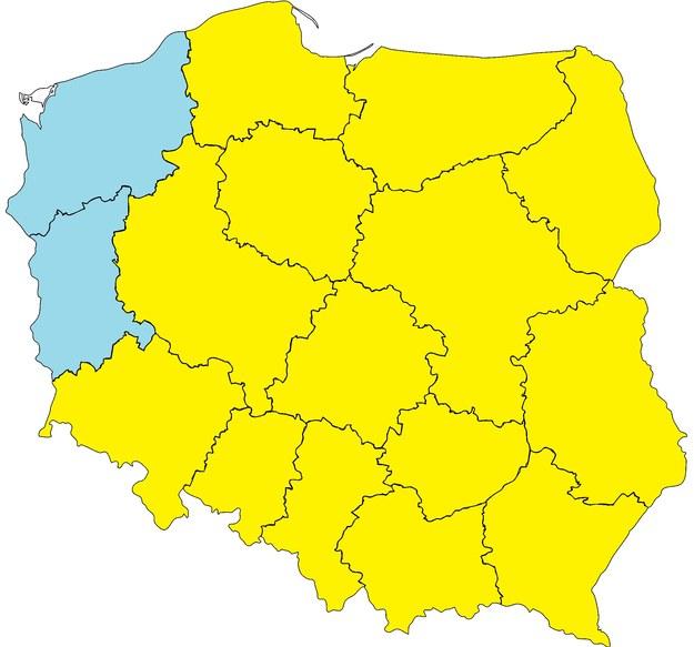 Wtorek 9 maja. Żółty na mapie oznacza pierwszy stopień zagrożenia pogodowego – przymrozki /Na podstawie IMiGW  /RMF FM