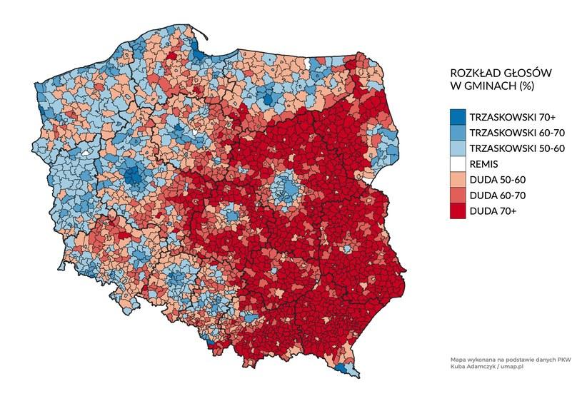Wyborcza mapa Polski z podziałem na gminy /Kuba Adamczyk / umap.pl /