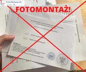 Wybory 2020. Ambasada RP w Londynie ostrzega przed fotomontażem z fałszywą kartą do głosowania