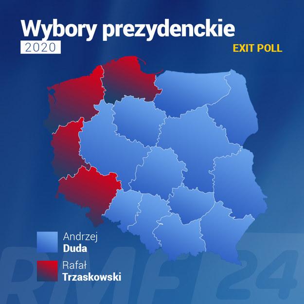 Wybory prezydenckie 2020: Zwycięzcy pierwszej tury w poszczególnych województwach /Grafika RMF FM /