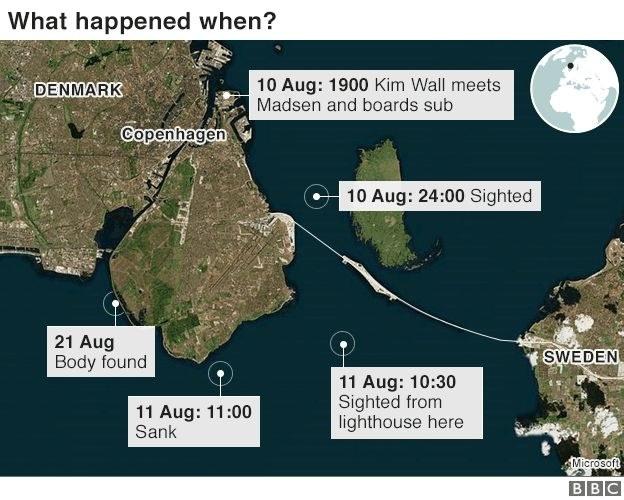 Wybrzeże Kopenhagi z zaznaczonymi datami i wydarzeniami w sprawie śmierci Wall /