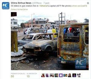 Wybuch na stacji benzynowej w Ghanie. Rośnie liczba ofiar