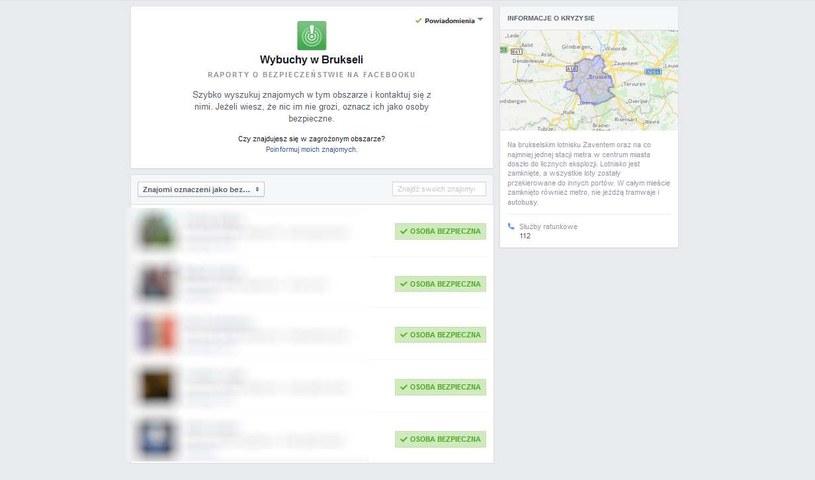 Wybuchy w Brukseli - tak wygląda Safety Check na Facebooku /INTERIA.PL