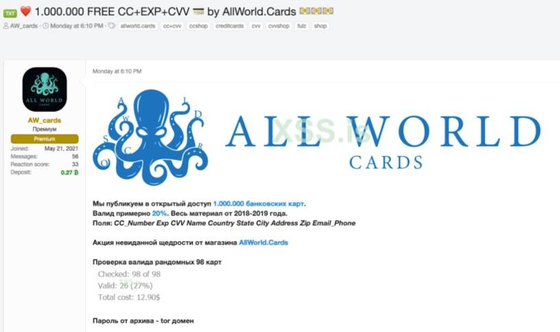 Wygląd strony użytej przez All World Cards do sprzedaży skradzionych danych fot. D3Lab /materiał zewnętrzny