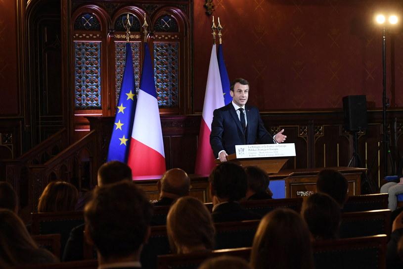 Wykład prezydenta Francji Emmanuela Macrona na Uniwersytecie Jagiellońskim w Krakowie. /Jacek Bednarczyk   /PAP
