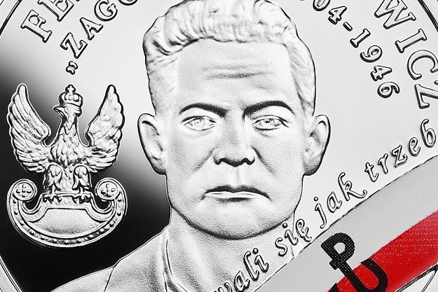 """Wyklęci przez komunistów żołnierze niezłomni - Feliks Selmanowicz """"Zagończy"""", detal rewersu /NBP"""