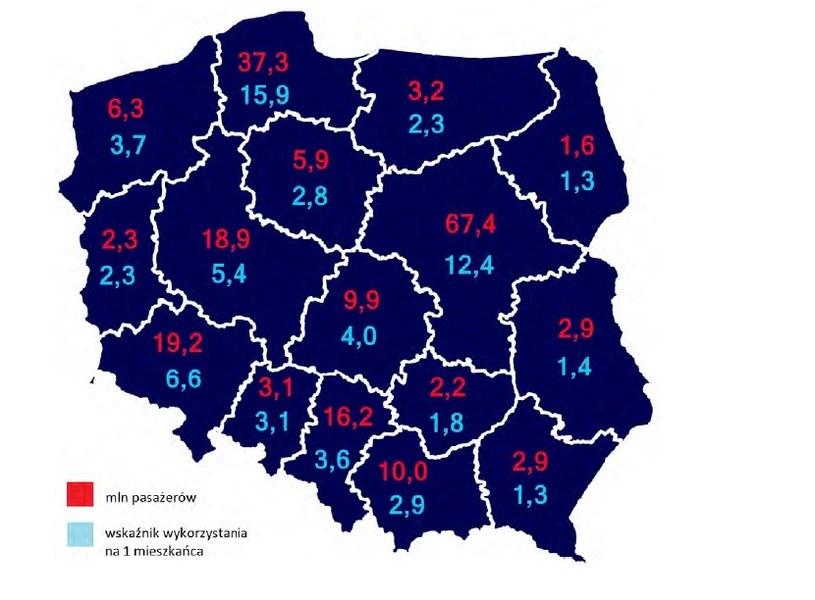 Wykorzystanie kolei w poszczególnych województwach /UTK /Archiwum