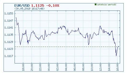 Wykres kursu euro do dolara (jeden dzień) /INTERIA.PL