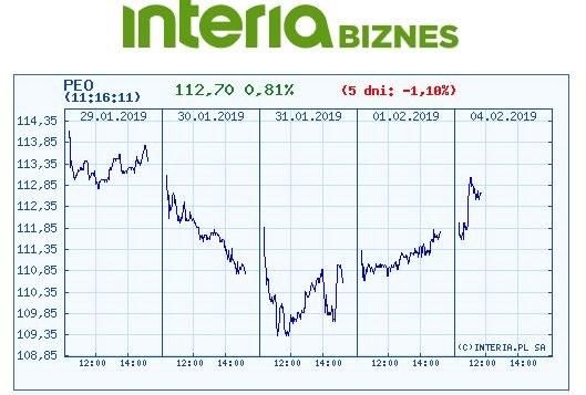 Wykres kursu PEO w czasie ostatnich pięciu sesji /INTERIA.PL