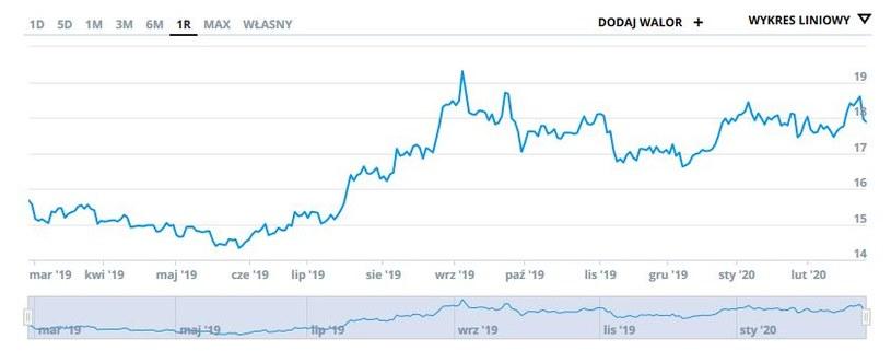 Wykres kursu srebra w ostatnim roku (w dolarach za uncję) /INTERIA.PL
