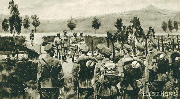 Wymarsz Pierwszej Kompanii Kadrowej z Olendrów - 6 sierpnia 1914 r. /Danuta B. Łomaczewska /East News