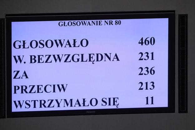 Wynik głosowania /Wojciech Olkuśnik /PAP