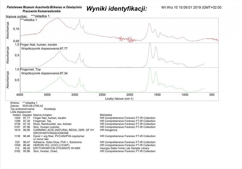 Wyniki badania FT-IR /Muzeum Auschwitz /