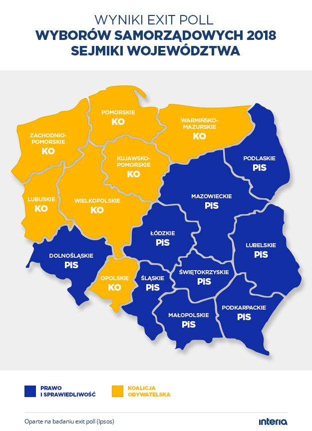 Wyniki wyborów (exit poll) - sejmiki województw /INTERIA.PL